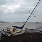 Boats stranded by storm
